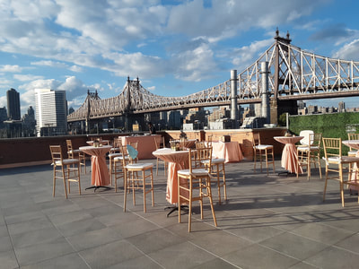 Event rental furniture set up for Long Island City, New York City outdoor  wedding.