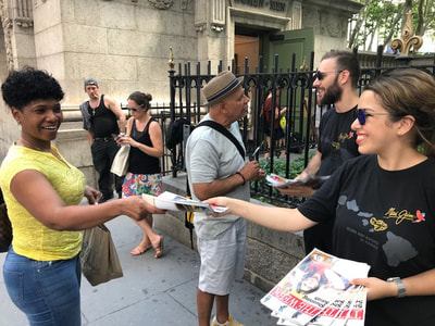 Promotional Brand Ambassador Staff passing out samples in NYC.