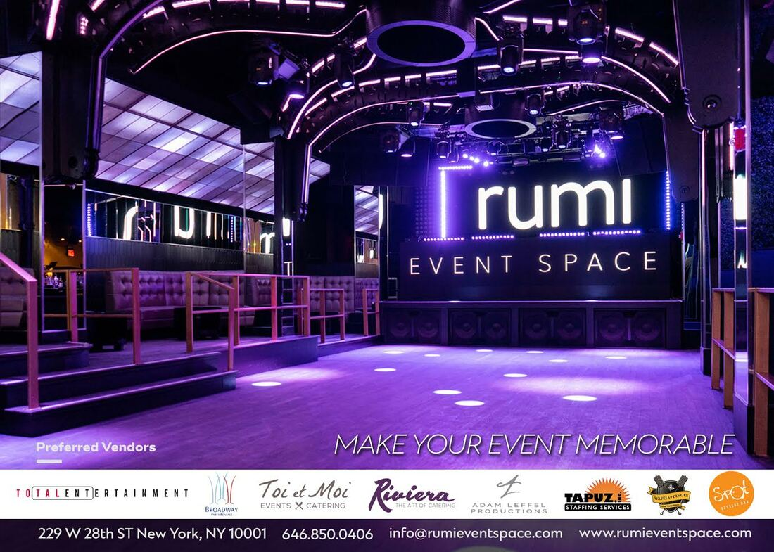 Illuminated stage at Rumi Event Space in New York City.